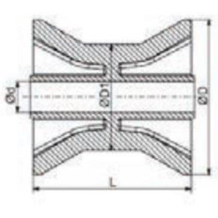 AWD 75x70 mm kielrol oranje/geel 14 mm naafdiameter - PU materiaal