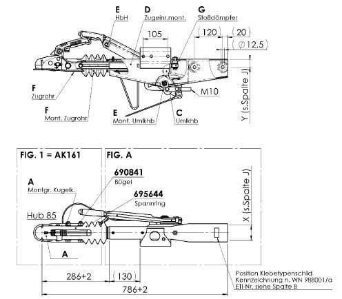 AL-KO oplooprem 90S in vierkante uitvoering technische tekening