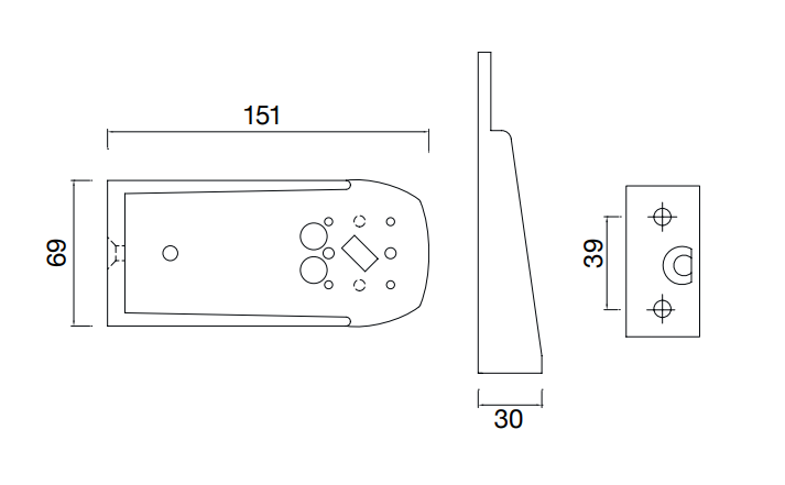 Aspock Flexipoint houder - hard rubber - 150 mm technische tekening
