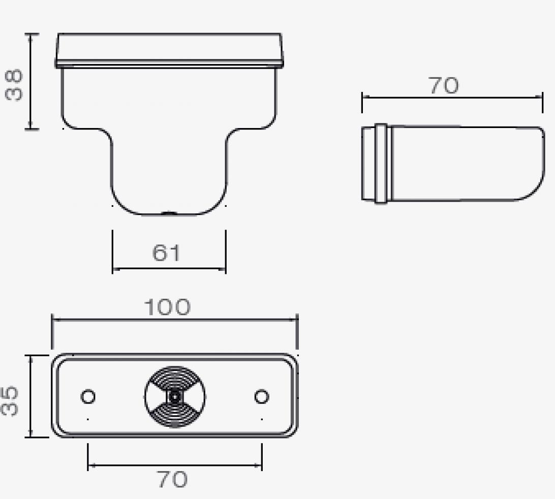 Aspock Flatpoint 1 - oranje - connector aansluiting - 21-2201-034 technische tekening