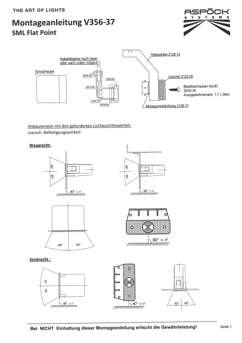 Aspock Flatpoint 1 - oranje/geel - LED - connector aansluiting - 21-2201-034 - montage handleiding