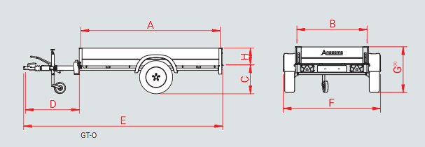 Anssems BSX 1350 bakwagen - 1350 kg bruto laadvermogen - 205x120 cm laadoppervlak - geremd - 1.00.1.0301.00 - technische tekening