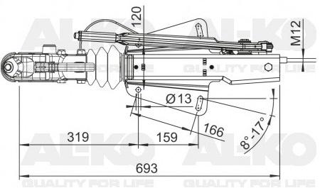 Originele AL-KO oplooprem 251G in V-Dissel  Merk: AL-KO  AL-KO nummer: 249249  Trekvermogen: 3000 kg  Kogeldruk: 120 kg  Technische tekening AL-KO 251G V-dissel