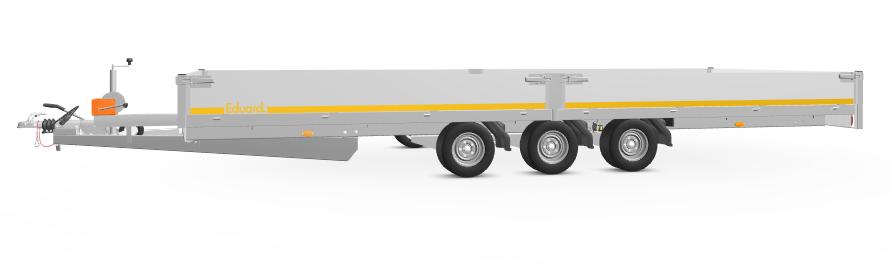 Eduard Geremde Eduard multitransporter - 606x220 cm - 3500 kg bruto laadvermogen - 56 cm laadvloerhoogte - 30 cm borden - inclusief oprijplaten en handlier - tridem asser