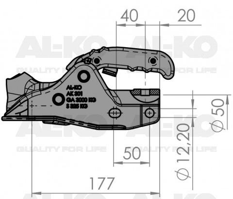 Geremde AL-KO AK301 kogelkoppeling technische tekening