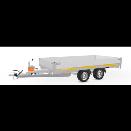 Eduard Geremde Eduard multitransporter - 356x180 cm - 2700 kg bruto laadvermogen - 63 cm laadvloerhoogte - 30 cm borden - inclusief oprijplaten en handlier
