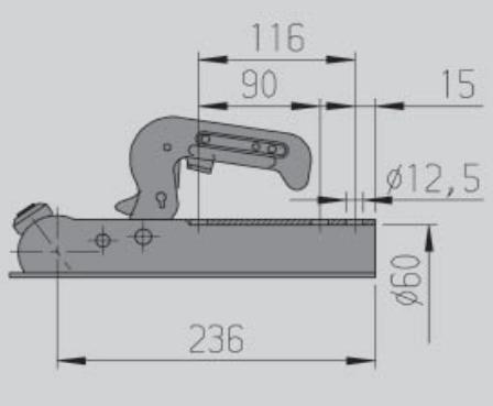 Ongeremde AL-KO AK7-B kogelkoppeling technische tekening