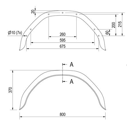 Origineel Anssems spatbord metaal 800x220x370 mm - omtrek 1200 mm - technische tekening