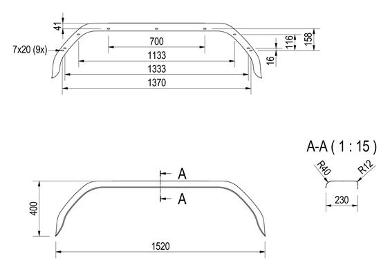 Origineel Anssems tandem spatbord metaal 1520x230x400 mm - omtrek 1980 mm - technische tekening