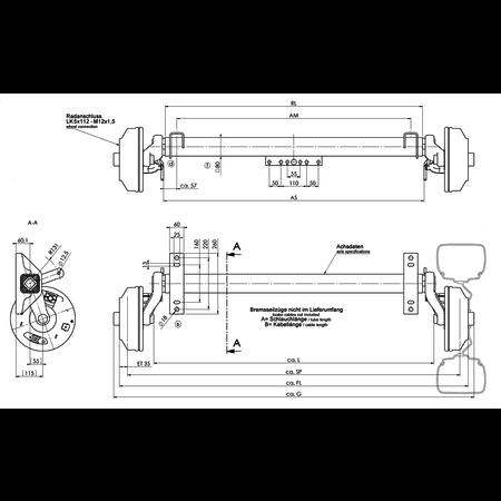 AL-KO Geremde torsie as - 1800 kg - padmaat 1100 mm - flensmaat 1590 mm - 5 gats