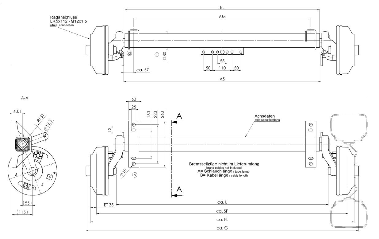 Geremde torsie as - 1800 kg - padmaat 1100 mm - flensmaat 1590 mm - 5 gats - technische tekening