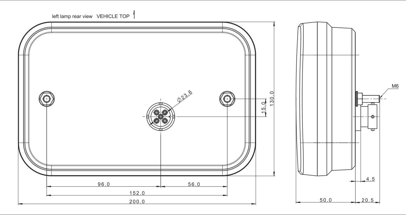 FRISTOM LED Achterlicht links 236x140x25 mm - Aspöck connectoren - Incl. Canbus module- Voorkomt LED storing - technische tekening