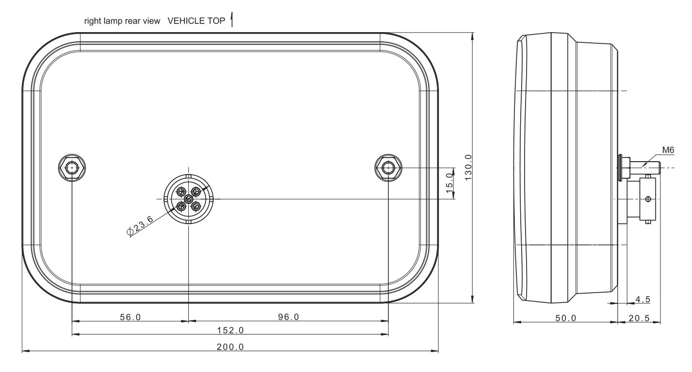 LED Achterlicht rechts 236x140x25 mm - Aspöck connectoren - Incl. Canbus module- Voorkomt LED storing - technische tekening