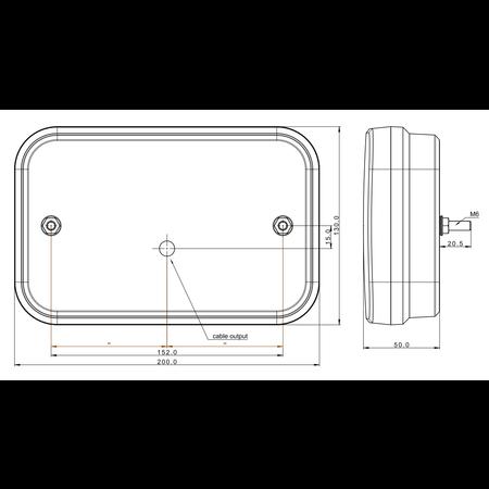 Fristom Achterlicht links met ingebouwde weerstand 200x130x50 mm - eenvoudig aan te sluiten met Aspöck connectoren
