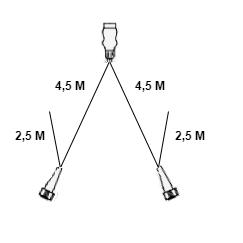 Aspock hoofdkabel - 4,5 meter lang - 13-polig - voorzien van 5-polige connectoren - inclusief aftakkingen 2,5 meter 2P- Plug&Play - technische tekening