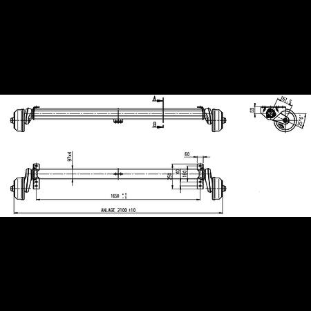 AL-KO Geremde torsie as - 1500 kg - padmaat 1650 mm - flensmaat 2100 mm - 5 gats