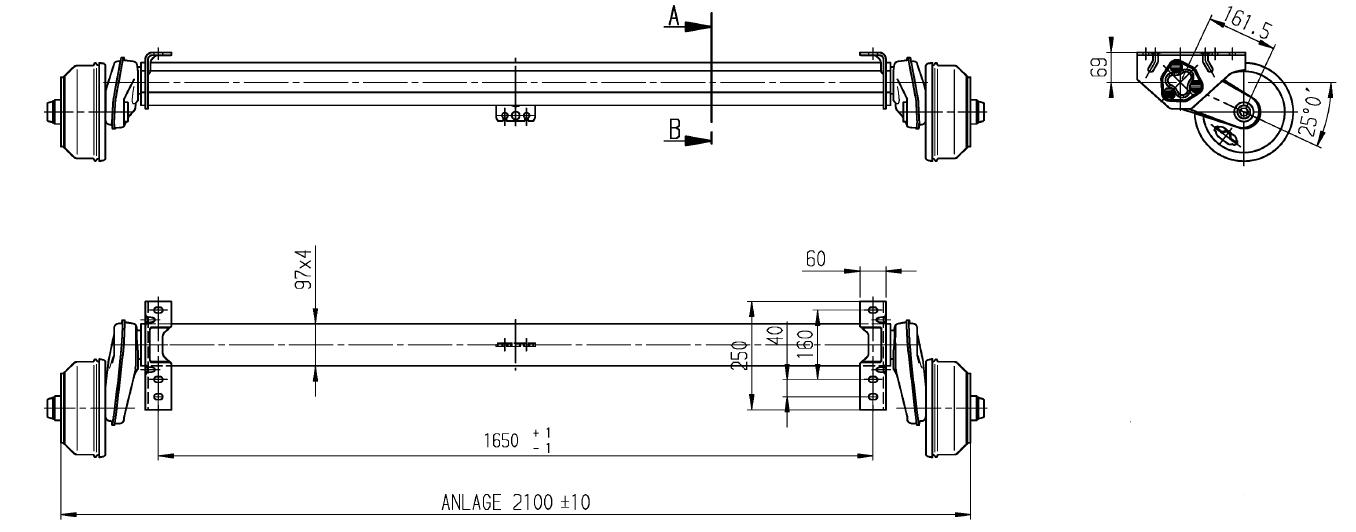 Geremde torsie as - 1500 kg - padmaat 1650 mm - flensmaat 2100 mm - 5 gats - technische tekening