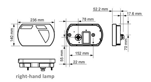 LED set met 9 meter hoofdkabel - 13 polig - inclusief aftakkingen - XL SET - technische tekening linker lamp