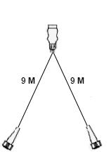 LED set met 9 meter hoofdkabel - 13 polig - inclusief aftakkingen - XL SET - technische tekening 9 meter hoofkabel