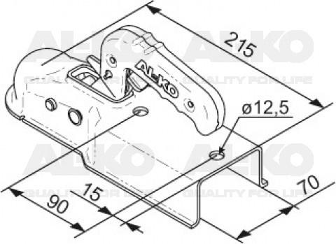 AL-KO AK7-V plus - koker 70 mm - 750 kg - ongeremde koppeling - technische tekening