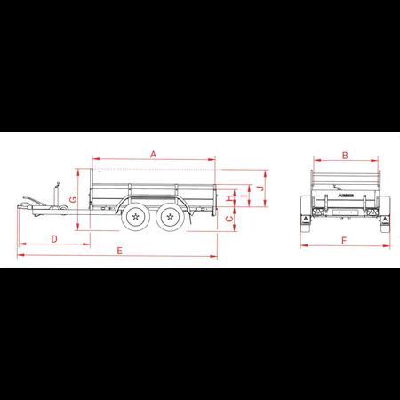 Anssems Anssems GTT 2000 R bakwagen - 2000 kg bruto laadvermogen - 301x126 cm laadoppervlak - geremd - inclusief reling en voorrek