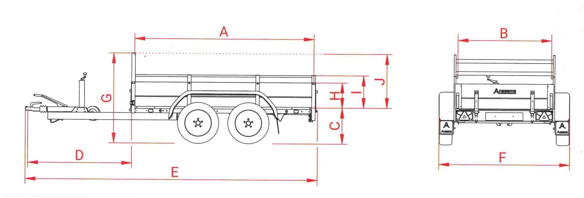 Anssems GTT 2000 R bakwagen - 2000 kg bruto laadvermogen - 301x126 cm laadoppervlak - geremd - inclusief reling en voorrek - 1.10.1.0706.01 - technische tekening
