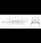 Anssems Anssems GTT 2000 R bakwagen - 2000  kg bruto laadvermogen - 251x126 cm laadoppervlak - geremd - inclusief reling en voorrek