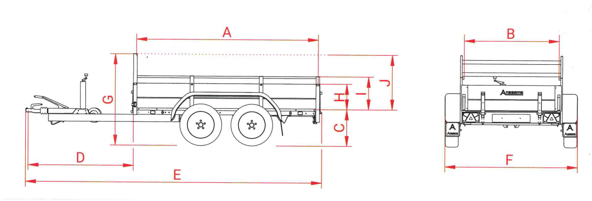 Anssems GTT 2000 bakwagen - 2000 kg bruto laadvermogen - 301x126 cm laadoppervlak - geremd - 1.10.1.0706.00 - technische tekening