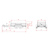 Anssems Anssems GTT 2000 bakwagen - 2000 bruto laadvermogen - 251x126 cm laadoppervlak - geremd