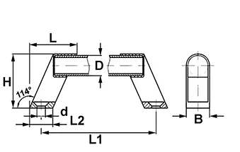 Handvat aluminium 300x20 mm - zilver/ zwart - technische tekening
