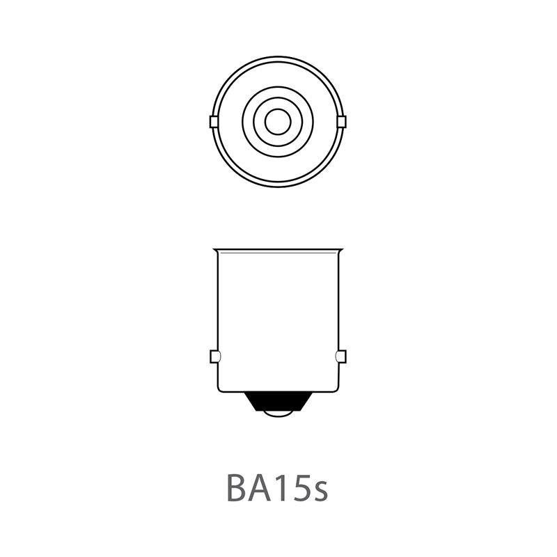 2x bol bajonet - 12V - 21W - oranje - technische tekening