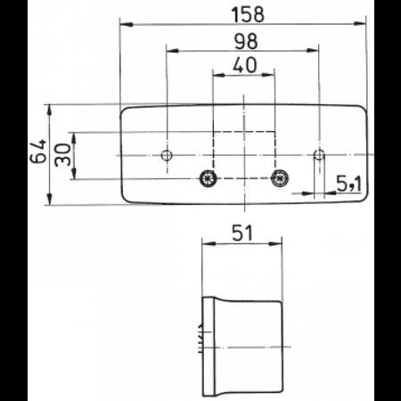 Jokon 3 kamer achterlicht rechts met kentekenverlichting 158x64x51 mm