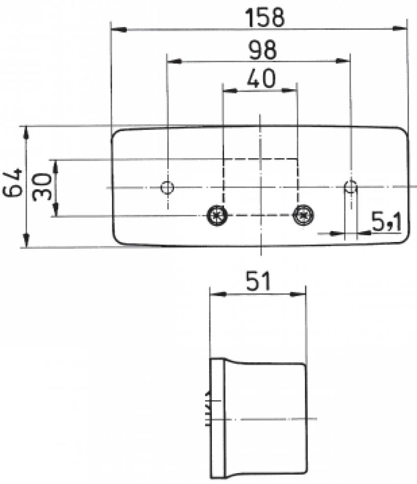 Jokon 3 kamer achterlicht rechts 158x64x51 mm - technische tekening