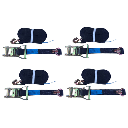 AWD Set van 4 spanbanden 600x3,5 cm - zwart - breekbelasting 3000 kg