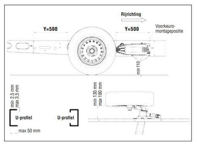 AL-KO Mammut M20 enkelas rangeersysteem - maximaal gewicht 2250 kg - technische tekening