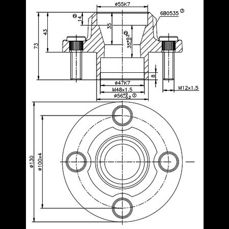 FAD  Ongeremde naaf met aseind - 4x100 - aseind 40x150 mm - snelverkeer