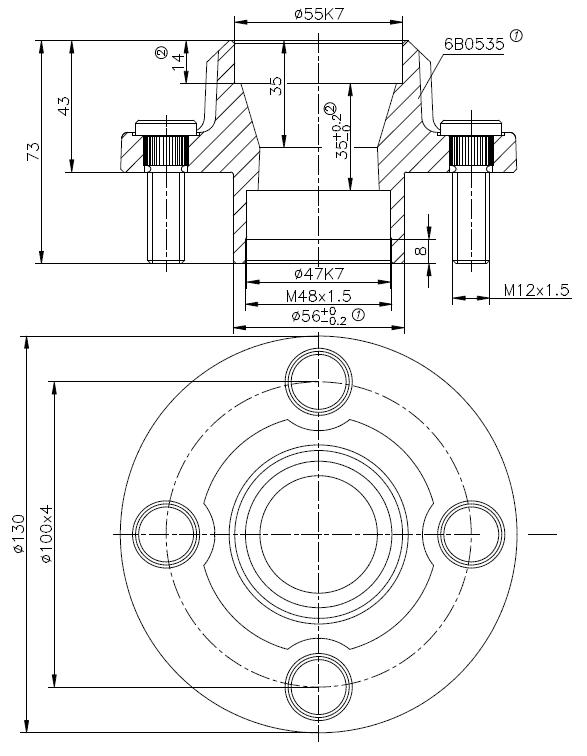 Ongeremde naaf met aseind - 4x100 - naafdiameter 56 mm - geschikt voor snelverkeer - technische tekening