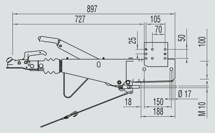 AL-KO oplooprem 161S in vierkante uitvoering - technische tekening
