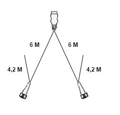 Type Aspock hoofdkabel - 6 meter lang - 13-polige stekkerdoos - voorzien van 2x 5-polige connector - inclusief aftakkingen 4,2 meter - technische tekening