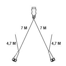 Technische tekening 7 meter hoofdkabel - 13 polig - 4,7 meter aftakkingen - 2x 5 polig