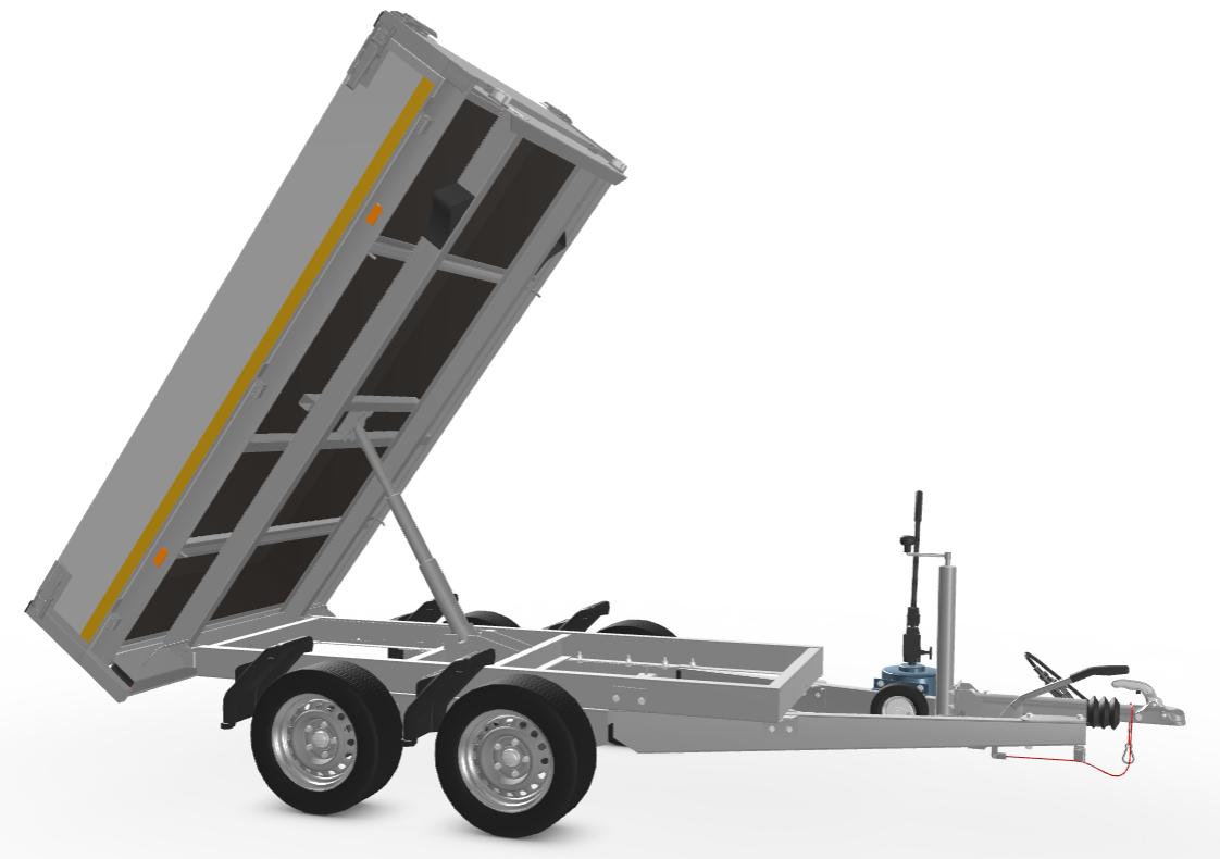 Eduard Geremde Eduard achterwaartse kipper - 256x150 cm - 2700 kg bruto laadvermogen - handpomp - 63 cm laadvloerhoogte