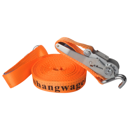 AWD Set van 4 spanbanden 800x5 cm - oranje met Aanhangwagendirect.nl bedrukking - breekbelasting 5000 kg