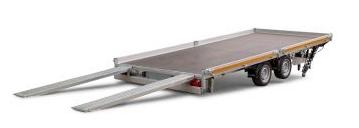 Eduard Geremde Eduard multitransporter - 406x180 cm - 2700 kg bruto laadvermogen - 56 cm laadvloerhoogte - 10 cm borden - inclusief oprijplaten en handlier