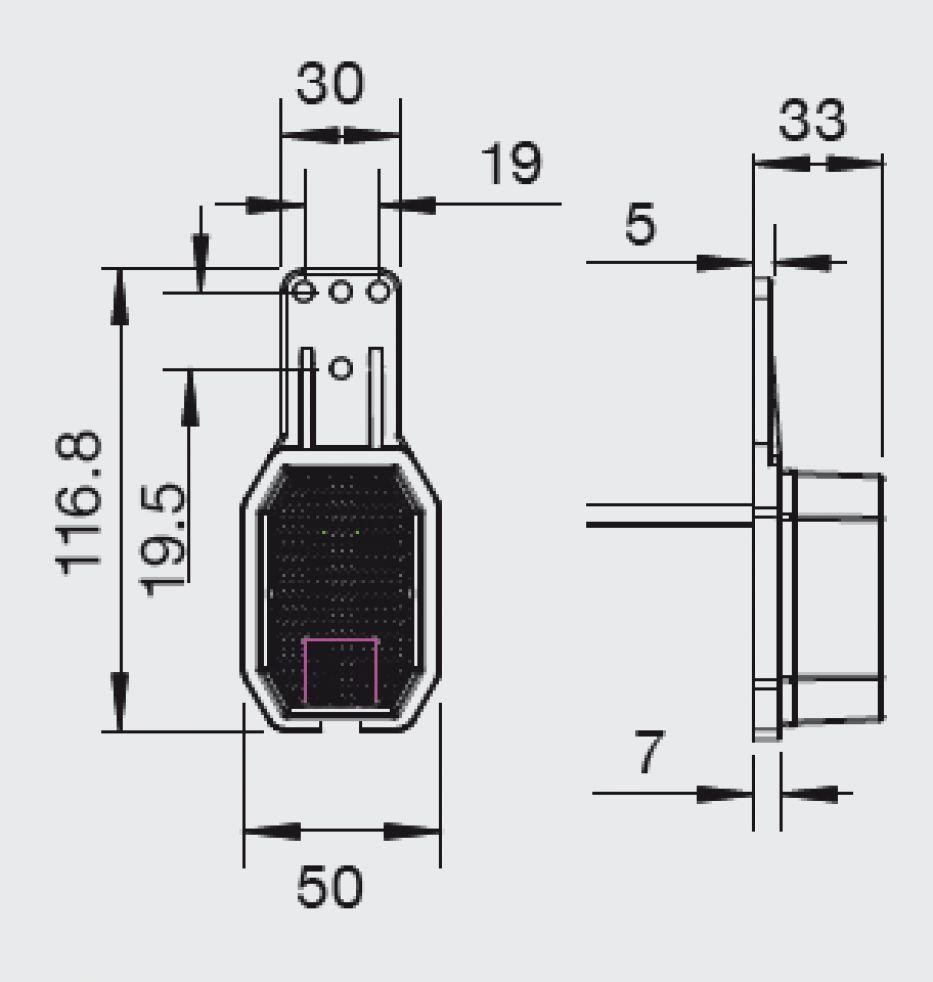 Aspock Flexipoint links/rechts toepasbaar - LED rood/wit - breedtelicht op rubber houder technische tekening