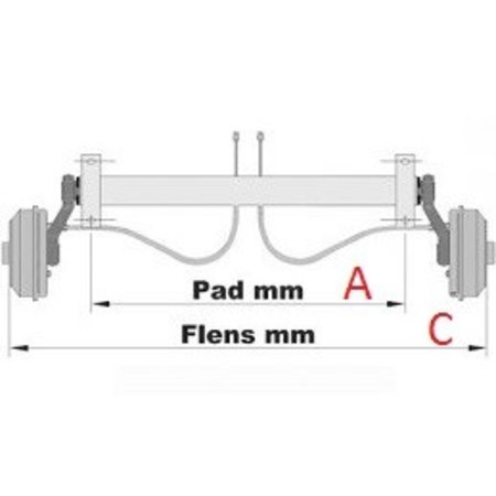 KNOTT Ongeremde torsie as - padmaat 1000 mm - flensmaat 1450 mm -750 kg - waterproof - 4x100