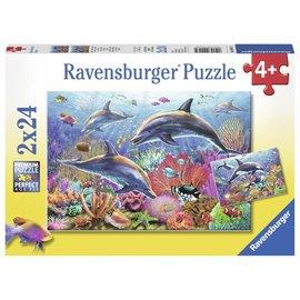Ravensburger PU090174 - Dolfijnen onder water (2 x 24 stukjes)