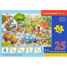 Castorland puzzels PUE128 - De boerderij, puzzelen en tellen 25+73 stukjes