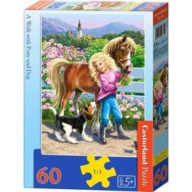 Castorland puzzels PUB06755 - A walk with pony and dog 60 stukjes