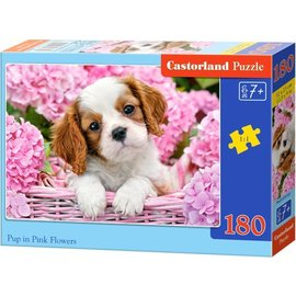 Castorland puzzels PUB018185 - Puppy tussen roze bloemen 180 stukjes