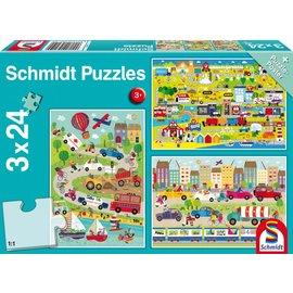 Schmidt Bonte wereld van voertuigen, 3 x 24 stukjes